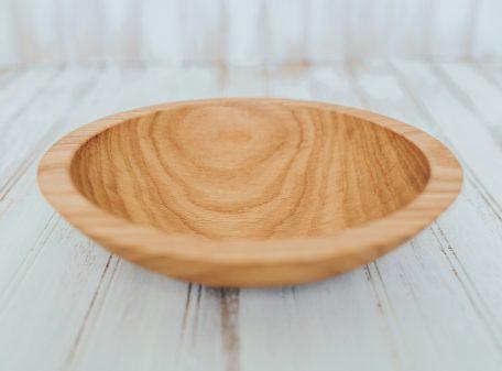 9-inch red oak wooden bowls