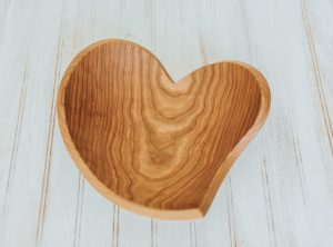 12″ Cherry Tear Drop Heart Wood Bowl