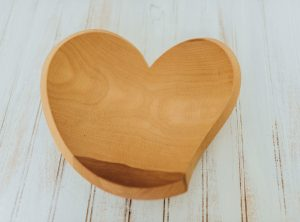 12″ Beech Tear Drop Heart Wood Bowl