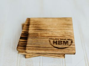 Torched Red Oak Coasters-Set Of 4
