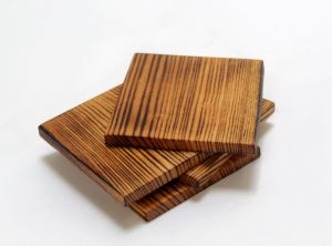 torched red oak wooden coasters