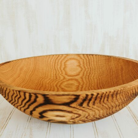 A 15-inch Torched Red Oak salad serving bowl.