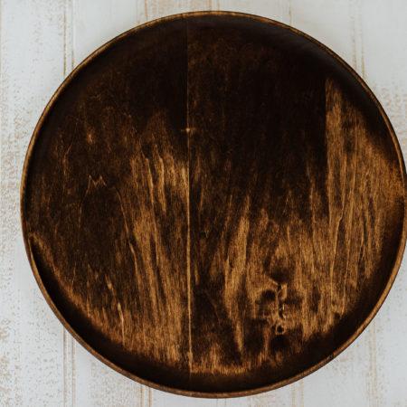"""10"""" wooden dinner plate scoop style dark walnut"""