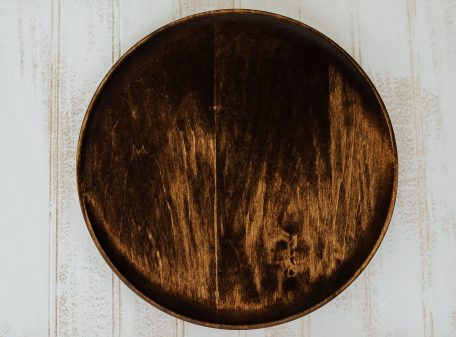 "10"" wooden dinner plate scoop style dark walnut"