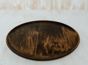 10-inch Wooden Plate in Dark Walnut and Bee's Oil Finish