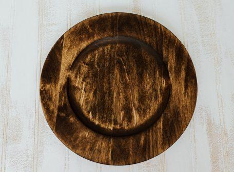"10"" Dark Walnut basswood plates with center"