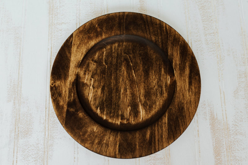 "10"" Dark Walnut basswood plates with center"