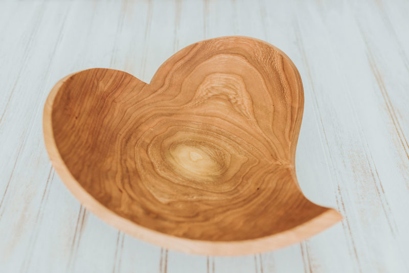 A teardrop heart bowl. Making wooden bowls can be an art form, one that takes time.