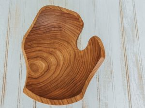 Michigan shaped bowl made from Cherry wood.