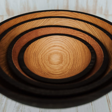 Solid Ebonized Red Oak Bowls
