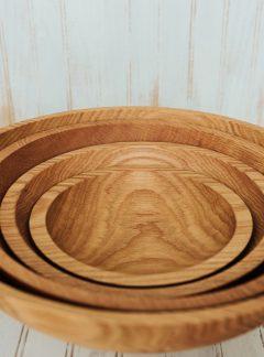Solid Red Oak Bowls