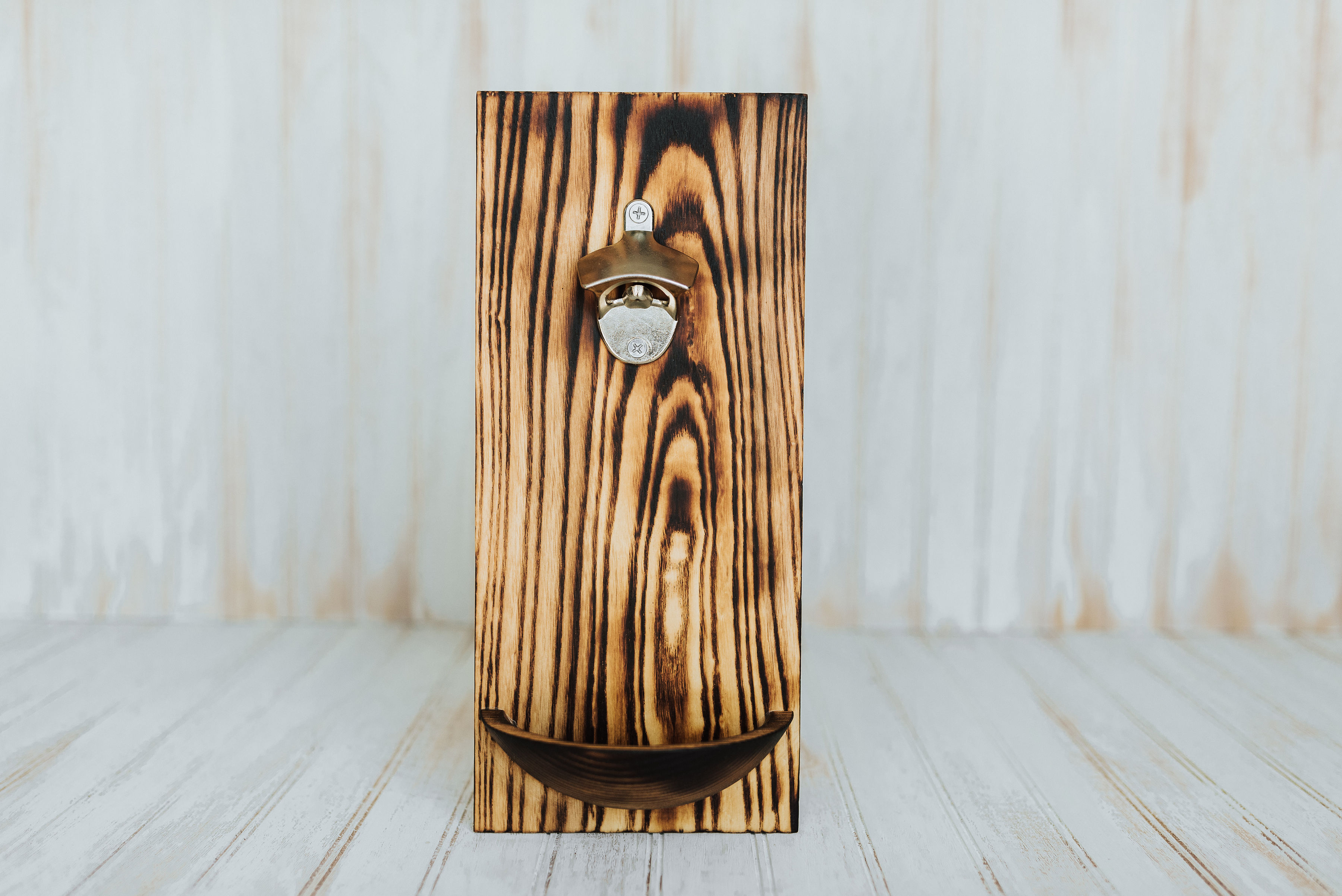 Image of: Wooden Wall Mounted Bottle Opener Torched Red Oak