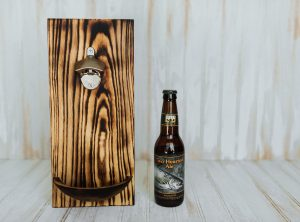 Torched Red Oak Wall-Mounted Bottle Opener