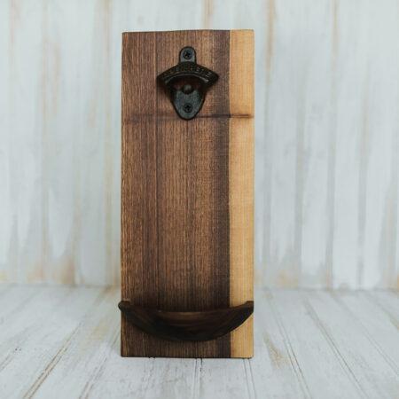 Wooden Wall mounted bottle openers in a walnut finish.