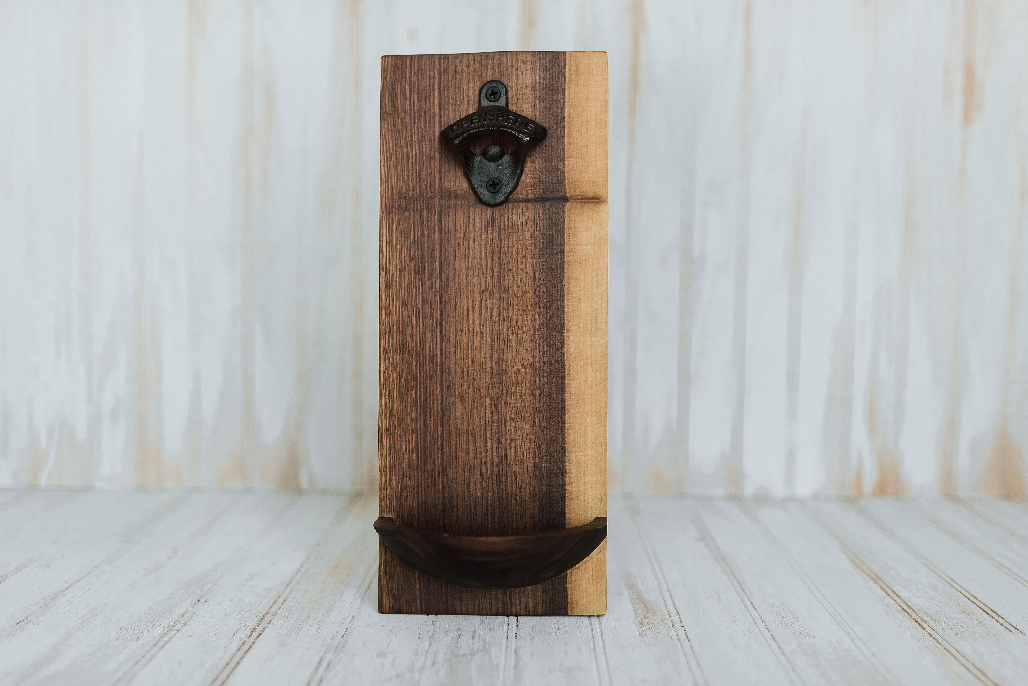 Image of: Wooden Wall Mounted Bottle Openers Walnut Finish