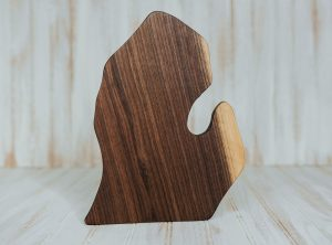 Michigan-shaped cutting board made from walnut wood