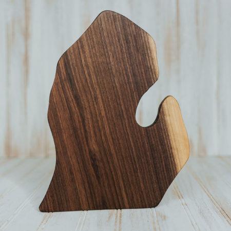 Michigan-shaped cutting board made from walnut wood