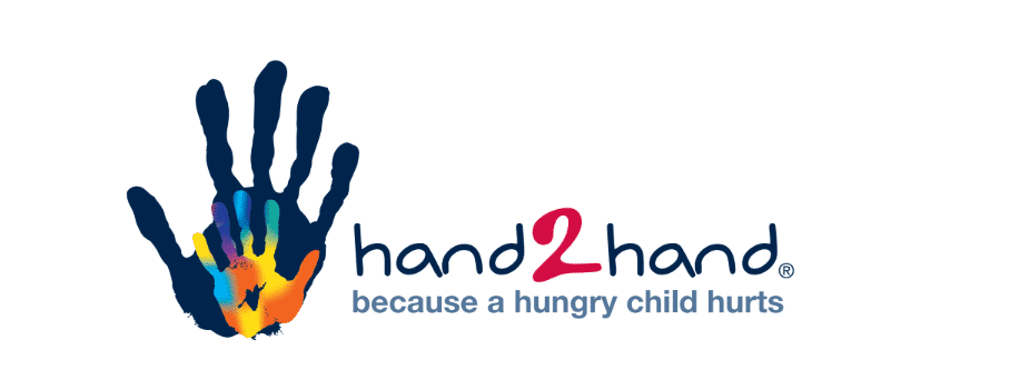 The hand2hand logo. Hand2Hand is an organization that tackles weekend hunger facing West Michigan families.