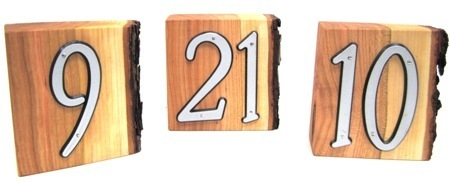Solid cherry wedding date blocks and wedding table numbers