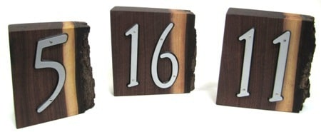 Three solid walnut wedding date blocks. Wood blocks with metal numbers affixed.