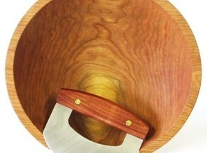 13-1/2 inch Cherry Chopping Bowl & Mezzaluna Knife – Bee's Oil Finish