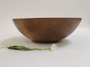 17 inch Beech Bowl – Dark Walnut & Bee's Oil Finish