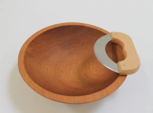 12 inch Beech Wood Chopping Bowl & Mezzaluna Knife Set – Light Finish