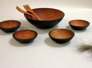 15 inch Ebonized Cherry Bowl Wooden dish Set – Bee's Oil Finish
