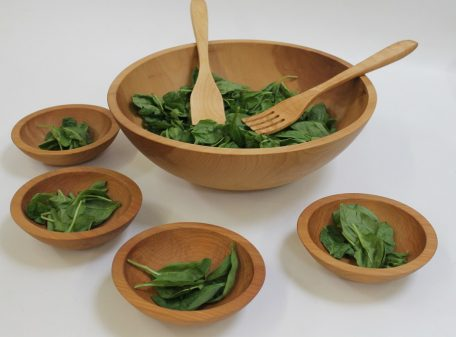 Handmade wooden salad bowls