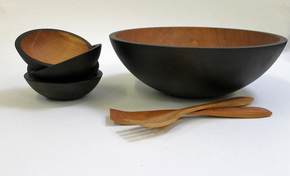 17 inch ebonized cherry wooden salad bowl set bees oil finish - Wooden Salad Bowl Set