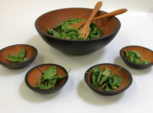17 inch Ebonized Cherry Wooden Salad Bowl Set – Bee's Oil Finish