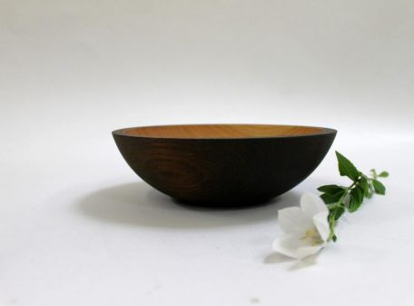 8 inch ebonizing of a red oak bowl.
