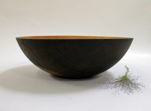 17 inch Ebonized Red Oak Bowl – Bee's Oil Finish large wood bowl