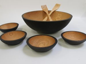 17 inch Ebonized Red Oak Bowl Set – Bee's Oil Finish-Wooden bowl for sale