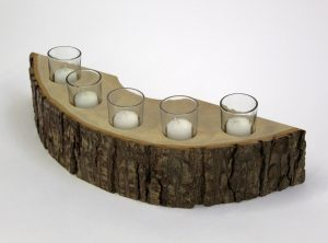 Holland Bowl Mill's 5 piece rustic wooden candle holder